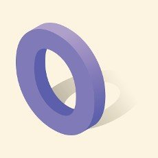 O letter in isometric 3d style with shadow. Violet O letter vector illustration