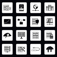 Database icons set in simple style. Analytics network computing process set collection vector illustration