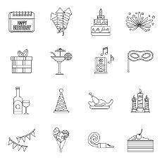 Happy Birthday icons set in outline style. Party and celebration elements set collection vector illustration