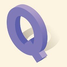 Q letter in isometric 3d style with shadow. Violet Q letter vector illustration