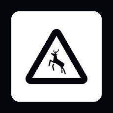 Sign caution deer icon in simple style isolated on white background. Rules of the road symbol