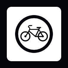 Sign bicycle path icon in simple style isolated on white background. Rules of the road symbol