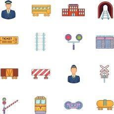 Railway icons set in cartoon style. Rail transportation set collection vector illustration