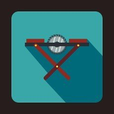 Movable circular saw icon in flat style with long shadow. Tools symbol