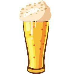 Beer glass icon in cartoon style isolated on white background