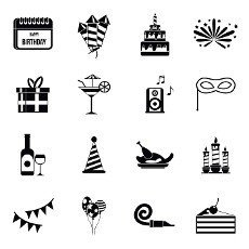 Happy Birthday icons set in simple style. Party and celebration elements set collection vector illustration