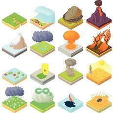 Natural disaster icons set in isometric 3d style. Catastrophe and crisis set collection vector illustration