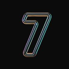 Vivid color glass font Number 7 SEVEN 3D render illustration isolated on black background
