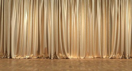 gold curtains and wooden floor. 3d render. concept of luxury and exclusivity.