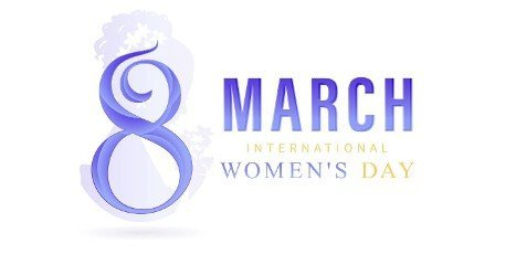 8 March International women\'s day or 8th march happy women\'s day with blue number letter and isolated white backgrounds. applicable for poster,  banner and anything