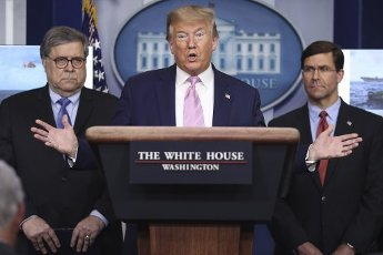 April 1, 2020 - Washington, DC USA: President Donald Trump speaks during a press conference with members of the coronavirus task force in the Brady Press Briefing Room of the White House on April 1, 2020 in Washington, DC. (POLARIS)