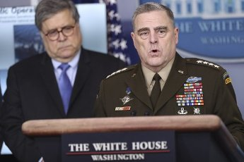 April 1, 2020 - Washington, DC USA: Chairman of Joint Chiefs Gen Mark Milley speaks during a press conference in the Brady Press Briefing Room of the White House on April 1, 2020 in Washington, DC. (POLARIS)