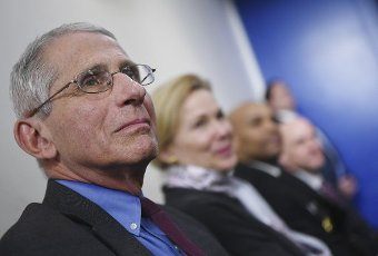 April 10, 2020 - Washington, DC, United States: Dr. Anthony Fauci, director of the National Institute of Allergy and Infectious Diseases, sits with other members of the task force at a Coronavirus briefing at the White House. With the U.S. death toll from the coronavirus pandemic expected to peak over the weekend, most of the country will be firmly under stay-at-home orders on Easter Sunday. (Polaris)