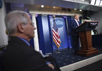 April 10, 2020 - Washington, DC, United States: President Donald Trump speaks at a Coronavirus briefing at the White House on Friday, April 10, 2020, in Washington, DC.ÃWith the U.S. death toll from the coronavirus pandemic expected to peak over the weekend, most of the country will be firmly under stay-at-home orders on Easter Sunday. Photo by Kevin Dietsch/UPI