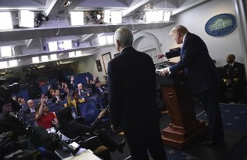 April 10, 2020 - Washington, DC, United States: President Donald Trump speaks at a Coronavirus briefing at the White House . With the U.S. death toll from the coronavirus pandemic expected to peak over the weekend, most of the country will be firmly under stay-at-home orders on Easter Sunday. (Polaris)