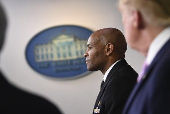 April 10, 2020 - Washington, DC, United States: Surgeon General Jerome Adams speaks at a Coronavirus briefing at the White House. With the U.S. death toll from the coronavirus pandemic expected to peak over the weekend, most of the country will be firmly under stay-at-home orders on Easter Sunday. (Polaris)