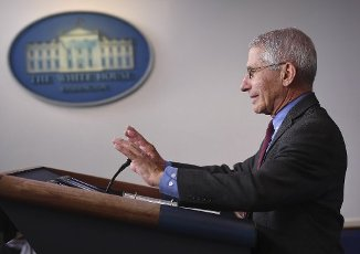 April 10, 2020 - Washington, DC, United States: Dr. Anthony Fauci, director of the National Institute of Allergy and Infectious Diseases, speaks at a Coronavirus briefing at the White House . With the U.S. death toll from the coronavirus pandemic expected to peak over the weekend, most of the country will be firmly under stay-at-home orders on Easter Sunday. (Polaris)