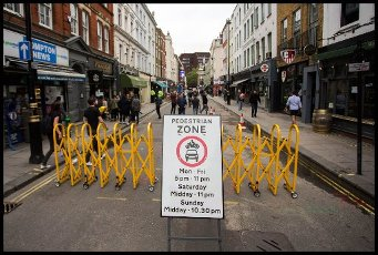 04\/07\/2020. London, United Kingdom: Further Lockdown Easing. Area around Old Compton Street is pedestrianised to aid social distancing and allow businesses to set up tables and chairs in the street. (Martyn Wheatley \/ i-Images \/ Polaris
