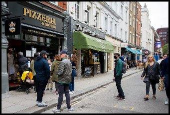 04\/07\/2020. London, United Kingdom: Further Lockdown Easing. Customers using bars & restaurants in Old Compton Street following easing of lockdown rules. (Martyn Wheatley \/ i-Images \/ Polaris
