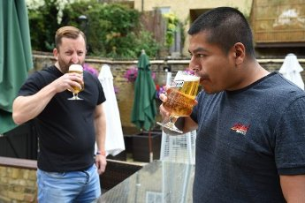 04\/07\/2020. London, United Kingdom: Pubs reopening. The Ship & Whale´s staff gets ready the pub in Rotherhithe, this morning for the reopening after three months, as the lockdown is easing. (Gustavo Valiente \/ i-Images \/ Polaris
