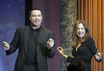 """International Association of Scientologists (IAS) Charity Ball Concert at Saint Hill Manor, Saint Hill Road. John Travolta and his wife Kelly Preston enjoy a dance on stage during the final act """"Stand By Me"""". (Edmond Terakopian\/Polaris"""