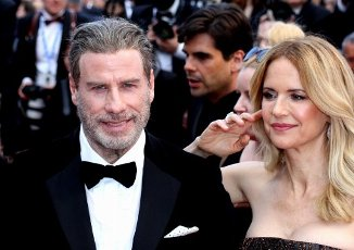 May 15, 2018 - Cannes, France. John Travolta, Kelly Preston, here to celebrate the 40th anniversary of movie Grease. Gala premiere for movie Solo-A Star Wars Story. At the Palais des Festivals during the 71st annual Cannes Film Festival. (Piero Oliosi\/Polaris