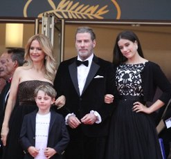 May 15, 2018 - Cannes, France. Family picture of Kelly Preston, Benjamin Travolta, John Travolta and Ella Bleu Travolta, here to celebrate the 40th anniversary of movie Grease. Gala premiere for movie Solo-A Star Wars Story. At the Palais des Festivals during the 71st annual Cannes Film Festival. (Piero Oliosi\/Polaris