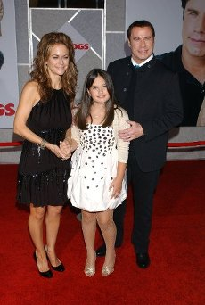 """September 9, 2009 - Los Angeles, California, United State: John Travolta, Kelly Preston, and daughter, Ella Bleu. Celebrities arrive at the world premiere of Walt Disney\'s """"Old Dogs"""" at the El Capitan Theatre, in Hollywood. (Gary Lewis\/Polaris"""