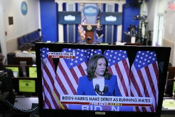 August 12, 2020 - Washington, DC, United States: Senator Kamala Harris, seen on a monitor at The White House, after she was introduced as Joe Biden\'s Vice Presidential nominee. (Chris Kleponis \/ Polaris