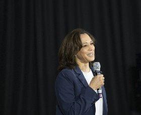 July 12, 2019 Somersworth, New Hampshire USA: Presidential candidate, Senator Kamala Harris (D-CA) at a campaign rally in Somersworth, NH, New Hampshire (Rick Friedman\/Polaris