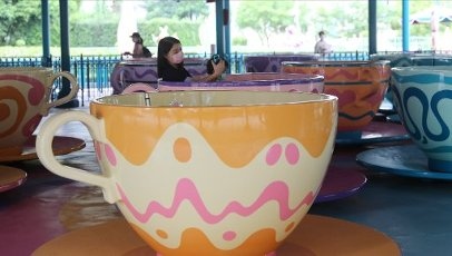 Visitors enjoying the ride at the amusement park as it reopens, Lantau Island. Hong Kong Disneyland reopens today after being closed for more than two months amid a third wave of coronavirus infections. 25SEP20 SCMP \/ Dickson