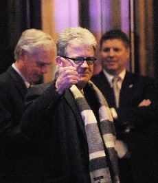 """March 28, 2020 - Tom Coburn, a former US congressman from Oklahoma and obstetrician, died at his home Saturday, according to a statement from his family. He was 72. Coburn, a Republican dubbed """"Dr. No"""" by his Democratic colleagues, was a staunch fiscal and social conservative who battled lawmakers over money for pet projects in their home states and fought for anti-abortion legislation throughout his career. He served in the US Senate from 2005-2015, after having been a member of the US House of Representatives from 1995-2001. File Photo: Republican Senator Tom Coburn (R-OK) gives a thumbs up as he leaves the Jefferson Hotel after a dinner with President Barack Obama March 6, 2013 in Washington, DC. .Credit: Olivier Douliery / Pool via CNP/AdMedia//Z-ADMEDIA_adm_TomCoburn_1948-2020_CNP_014/2003282047/Credit:SIPA/"""