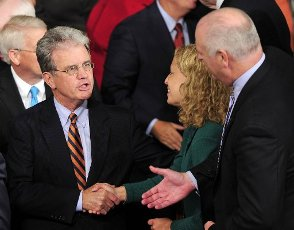 """March 28, 2020 - Tom Coburn, a former US congressman from Oklahoma and obstetrician, died at his home Saturday, according to a statement from his family. He was 72. Coburn, a Republican dubbed """"Dr. No"""" by his Democratic colleagues, was a staunch fiscal and social conservative who battled lawmakers over money for pet projects in their home states and fought for anti-abortion legislation throughout his career. He served in the US Senate from 2005-2015, after having been a member of the US House of Representatives from 1995-2001. File Photo: United States Senator Tom Coburn (Republican of Oklahoma), left, shakes hands with U.S. Representative Debbie Wasserman Schultz (Democrat of Florida), the Chairman of the Democratic National Committee, center, prior to U.S. President Barack Obama delivering an address on jobs andthe economy to a Joint Session of Congress at the Capitol in Washington, D.C. on Thursday, September 8, 2011. U.S. Representative Joe Crowley (Democrat of New York) extends his hand at right....."""