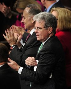 """March 28, 2020 - Tom Coburn, a former US congressman from Oklahoma and obstetrician, died at his home Saturday, according to a statement from his family. He was 72. Coburn, a Republican dubbed """"Dr. No"""" by his Democratic colleagues, was a staunch fiscal and social conservative who battled lawmakers over money for pet projects in their home states and fought for anti-abortion legislation throughout his career. He served in the US Senate from 2005-2015, after having been a member of the US House of Representatives from 1995-2001. File Photo: United States Senators Chuck Schumer (Democrat of New York) and Tom Coburn (Republican of Oklahoma) sit together during U.S. President Barack Obama"""