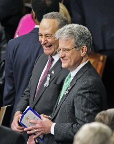 """March 28, 2020 - Tom Coburn, a former US congressman from Oklahoma and obstetrician, died at his home Saturday, according to a statement from his family. He was 72. Coburn, a Republican dubbed """"Dr. No"""" by his Democratic colleagues, was a staunch fiscal and social conservative who battled lawmakers over money for pet projects in their home states and fought for anti-abortion legislation throughout his career. He served in the US Senate from 2005-2015, after having been a member of the US House of Representatives from 1995-2001. File Photo: United States Senators Chuck Schumer (Democrat of New York) and Tom Coburn (Republican of Oklahoma) smile together as they await the start of U.S. President Barack Obama"""