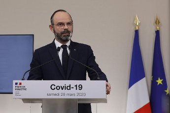 French Prime Minister Edouard Philippe speaks during a press conference in Paris, on March 28, 2020, on the eleventh day of a strict nationwide confinement in France seeking to halt the spread of the COVID-19 infection caused by the novel coronavirus. - The death toll from the coronavirus epidemic in Europe surged past 20,000 on March 28, 2020, even as the Chinese city where the outbreak began cautiously returned to life. Europe and the United States are facing a staggering increase in new cases of COVID-19 -- despite perhaps a third of humanity now living under lockdown.//04SIPA_1120.5859/2003282033/Credit:VAN DER HASSELT/POOL/SIPA/
