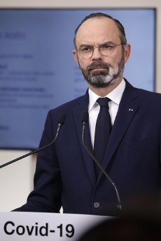French Prime Minister Edouard Philippe speaks during a press conference in Paris, on March 28, 2020, on the eleventh day of a strict nationwide confinement in France seeking to halt the spread of the COVID-19 infection caused by the novel coronavirus. - The death toll from the coronavirus epidemic in Europe surged past 20,000 on March 28, 2020, even as the Chinese city where the outbreak began cautiously returned to life. Europe and the United States are facing a staggering increase in new cases of COVID-19 -- despite perhaps a third of humanity now living under lockdown.//04SIPA_1120.5852/2003282032/Credit:VAN DER HASSELT/POOL/SIPA/