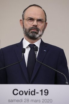 French Prime Minister Edouard Philippe speaks during a press conference in Paris, on March 28, 2020, on the eleventh day of a strict nationwide confinement in France seeking to halt the spread of the COVID-19 infection caused by the novel coronavirus. - The death toll from the coronavirus epidemic in Europe surged past 20,000 on March 28, 2020, even as the Chinese city where the outbreak began cautiously returned to life. Europe and the United States are facing a staggering increase in new cases of COVID-19 -- despite perhaps a third of humanity now living under lockdown.//04SIPA_1120.5857/2003282033/Credit:VAN DER HASSELT/POOL/SIPA/