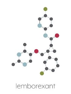 Lemborexant insomnia drug molecule. Stylized skeletal formula (chemical structure): Atoms are shown as color-coded circles: hydrogen (hidden), carbon (grey), nitrogen (blue), oxygen (red), fluorine (cyan