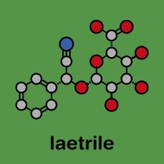 Laetrile molecule. Derivative of amygdalin. Used in quack cancer treatment. Stylized skeletal formula (chemical structure): Atoms are shown as color-coded circles: hydrogen (hidden), carbon (grey), oxygen (red), nitrogen (blue