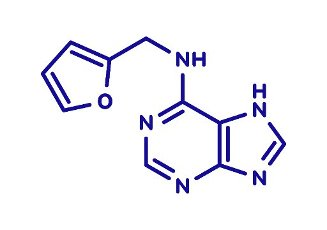 Kinetin (N6-furfuryladenine) plant hormone molecule. Promotes cell division in plants. Used in skin care and cosmetics for supposed anti-aging properties. Skeletal formula