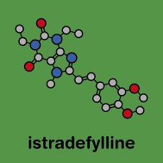Istradefylline Parkinson\'s disease drug molecule. Stylized skeletal formula (chemical structure): Atoms are shown as color-coded circles: hydrogen (hidden), carbon (grey), nitrogen (blue), oxygen (red