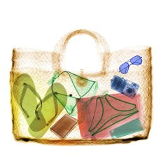 Straw bag with items, coloured X-ray