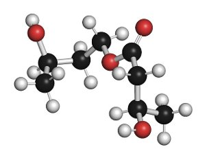 Ketone ester molecule, illustration. Present in drinks to induce ketosis. Atoms are represented as spheres with conventional colour coding: hydrogen (white), carbon (black), oxygen (red