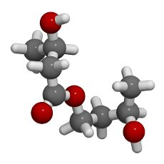 Ketone ester molecule, illustration. Present in drinks to induce ketosis. Atoms are represented as spheres with conventional colour coding: hydrogen (white), carbon (grey), oxygen (red