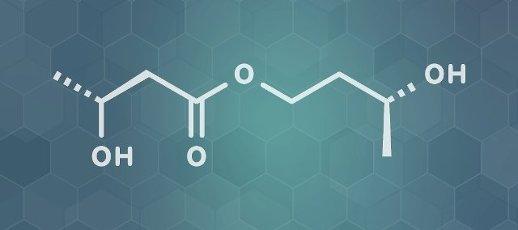 Ketone ester molecule, illustration. Present in drinks to induce ketosis. Skeletal formula
