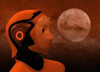 Robotic exploration of space, conceptual illustration