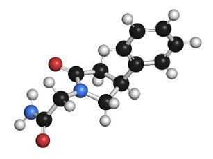 Phenylpiracetam drug molecule, illustration. Atoms are represented as spheres with conventional colour coding: hydrogen (white), carbon (black), oxygen (red), nitrogen (blue