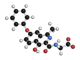 Roxadustat drug molecule, illustration. Atoms are represented as spheres with conventional colour coding: hydrogen (white), carbon (black), nitrogen (blue), oxygen (red