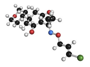 Tepraloxydim herbicide molecule, illustration. Atoms are represented as spheres with conventional colour coding: hydrogen (white), carbon (black), nitrogen (blue), oxygen (red), chlorine (green